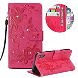 """Leather Case for iPhone XS Max 6.5"""" Butterfly Flower Pattern Girls Women Cover, MOIKY Luxury Glitter Sparkle Shiny Bling Rhinestone Magnetic Closure Wallet Pockets Credit Card Holder Flip Stand Cover Case For iPhone XS Max 6.5"""" - Rose red"""