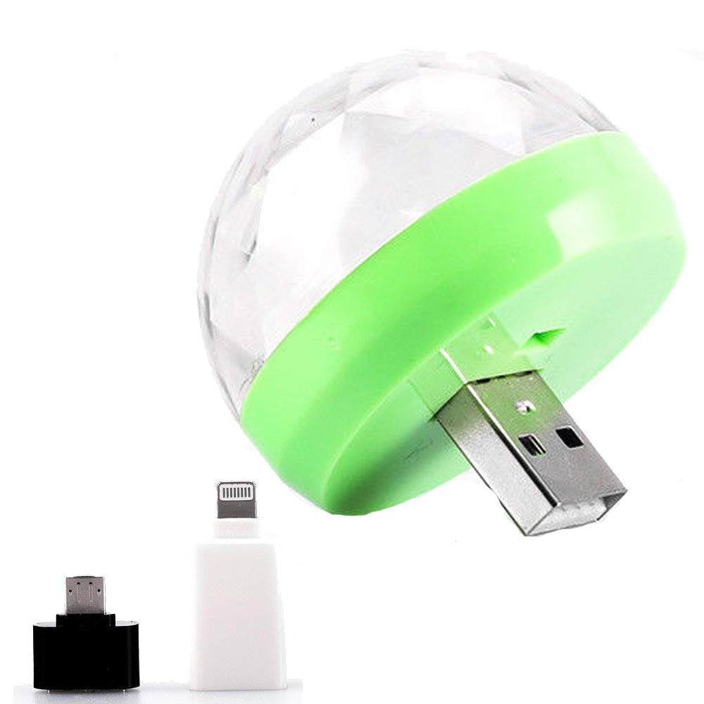 Mini Disco Ball USB Mushroom Light Color Changing Moves to Beat & Rhythm of The Music Playing - Portable Party Accessory Android Micro USB & Apple Port Adapter Included