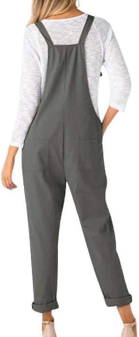 Cromoncent Womens Pure Colour Pockets Straight Leg Plus Size Overalls Jumpsuits