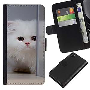 Sony Xperia Z3 D6603 / D6633 / D6643 / D6653 / D6616 , la tarjeta de Crédito Slots PU Funda de cuero Monedero caso cubierta de piel ( White Cat Longhair Mirror Big Eyes Cute)