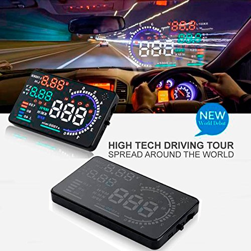 (CHAMPLED 5.5inch Car HUD Head Up Display with OBD2 Interface Plug for BMW M BENZ AUDI VW VOLKSWAGEN VOLVO JAGUAR PORSCHE)