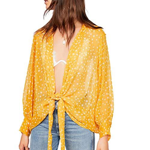 Pretty Cardigan Womens Star Print Chiffon Short Lace Up Blouse Loose Top Yellow