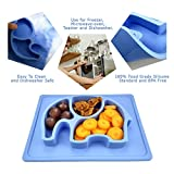 "Baby Placemat, SILIVO 10""x7.7""x1"" Silicone Mini Child Feeding Mat Toddlers Kids Plate Fits Most Highchair Trays Blue"