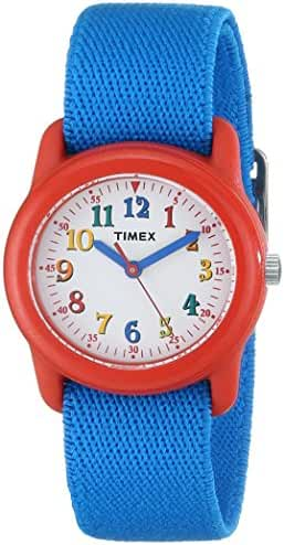 Timex Kids TW7B99500 Red Resin Analog Watch with Blue Elastic Nylon Strap