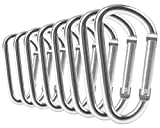 "ZEINZE Carabiner Clip 3"" Aluminum D-Ring Spring Loaded Gate Small keychain Carabiners Clip Set for Outdoor Camping mini Lock Hooks Spring Snap Link Key Chain Durable Improved"