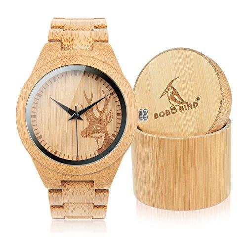 BOBO BIRD Japan Quartz Casual Wood Bamboo Wrist Pocket Watch with Elk Shape Dial (Casual Wood)