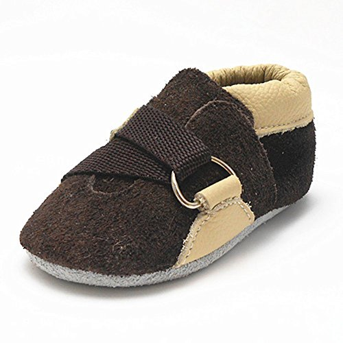 Sayoyo Baby Strap Soft Sole Leather Infant Toddler Prewalker Shoes (12-18 months, Dark Brown)