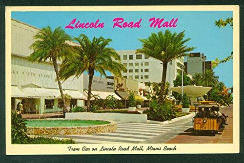 (Lincoln Road Mall Tram Train Car Miami Beach Florida FL Vintage Postcard)