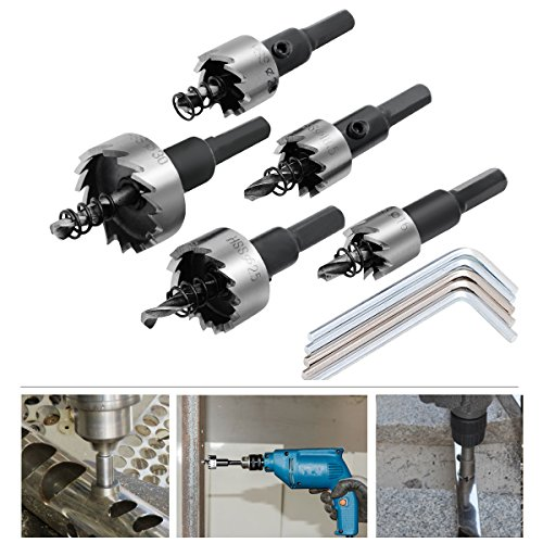 5PCs HSS Drill Bit Hole Saw Set Stainless Steel Metal Alloy 16-30mm - 2