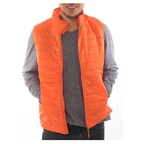 Altatac Men's Puffer Quilted Water Repellent Full Zipper Packable Vest Jacket Coat - Orange - -