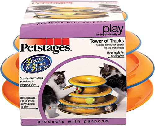 Petstages Tower of Tracks Cat Toy - 3 Levels of Interactive Play - Circle Track with Moving Balls Satisfies Kitty's Hunting, Chasing & Exercising Needs from Petstages