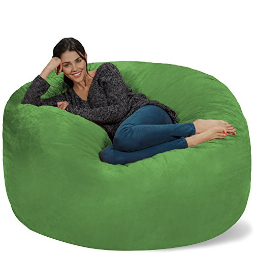 Chill Sack Bean Bag Chair: Giant 5' Memory Foam Furniture Bean Bag - Big Sofa with Soft Micro Fiber Cover - Lime