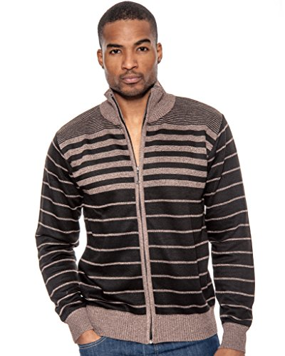 True Rock Men's 7615 Full Zip Cardigan Striped Sweater-Khaki - L