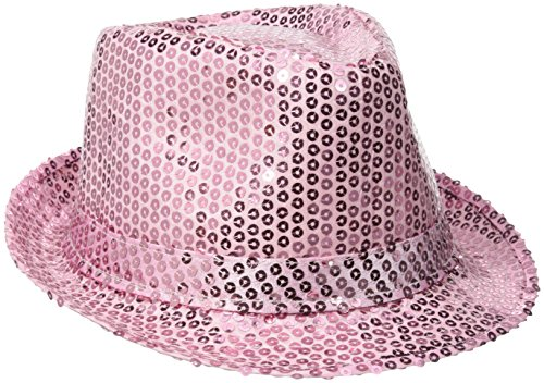 Be Wicked Women's Sequin Fedora Hat, Baby Pink, One Size (Sexy Panda Costume)
