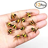 KEENET 12pcs/ 1dozen Bee Flies Fishing Kit Dry Flies Kit Bumble Bee Fly Fishing Lure Insect Fishing Lures Hooks High Simulation Fly Fishing Lures Bass Salmon Trout Floating/Sinking