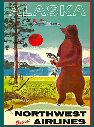 A SLICE IN TIME Alaska Bear Bears Northwest Orient Airlines United States America Travel Advertisement Poster - Northwest Orient Airlines