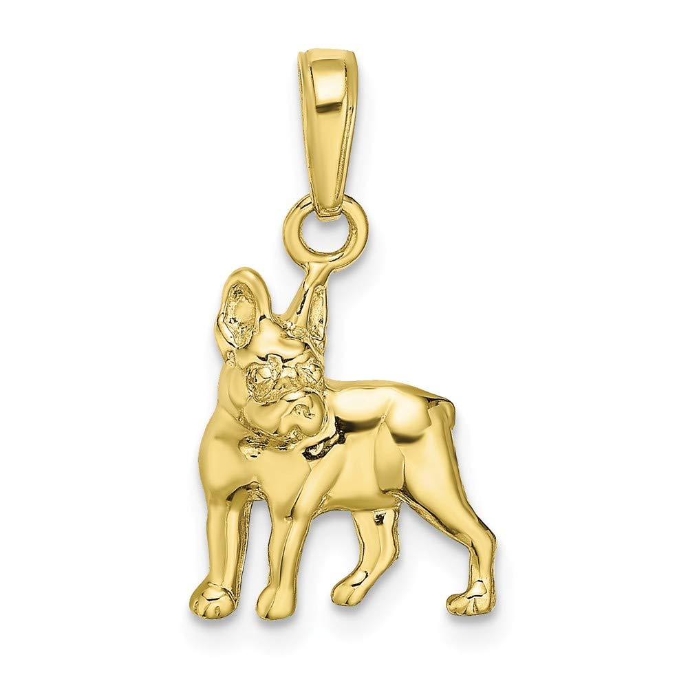 10K Yellow Gold Boston Terrier Dog Charm Necklace Pendant with 18'' Length Chain by Million Charms