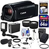 Canon Vixia HF R80 16GB Wi-Fi 1080p HD Video Camera Camcorder + 64GB Card + Battery & Charger + Hard Case + Tripod + LED + 2 Microphones + 2 Lens Kit
