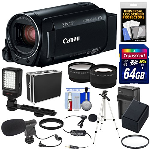 Canon Camcorder Chargers - Canon Vixia HF R80 16GB Wi-Fi 1080p HD Video Camera Camcorder + 64GB Card + Battery & Charger + Hard Case + Tripod + LED + 2 Microphones + 2 Lens Kit