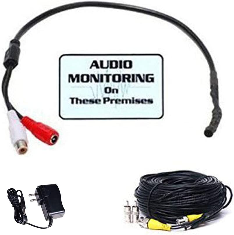 VideoSecu High Sensitive Preamp Audio Mic Microphone Pickup Device Kit with Extension Cable and Power Supply BPK