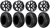 Bundle - 9 Items: MSA Black Diesel 15'' ATV Wheels 30'' Kanati Mongrel Tires [4x156 Bolt Pattern 12mmx1.5 Lug Kit]