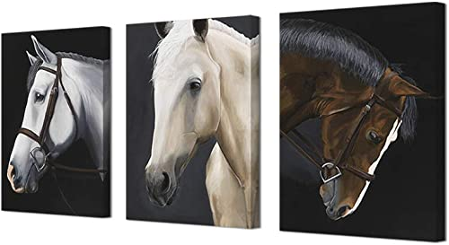 ArtBones Horse Picture Wall Decor Animal Painting Canvas Prints Wall Art Ready to Hang Home Office Decor Picture Canvas Wrap 12″x16″x3 Piece