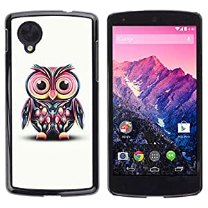 Qstar Arte & diseño plástico duro Fundas Cover Cubre Hard Case Cover para LG Google NEXUS 5 / E980 /D820 / D821 ( Owl Pink Eyes Colorful Disco Bird Drawing)