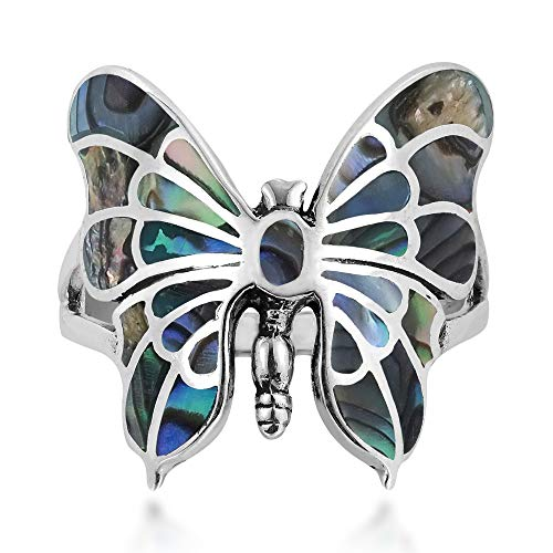 AeraVida Exotic Graceful Butterfly Abalone Shell Inlay .925 Sterling Silver Ring (7)