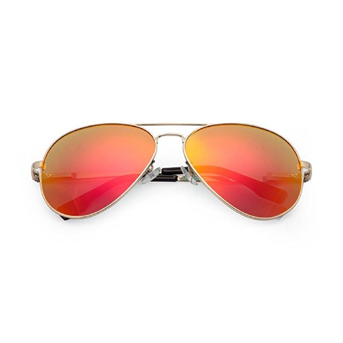 Feililong Prämie Voll Mirrored Pilotenbrille Flieger Sonnenbrille UV400 Schutz Optimal Entwurf Herren und Frauen Aviator Sonnenbrillen (Gold Rote Linse / Goldrahmen) n21Lbdk