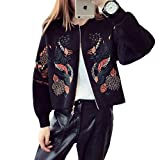 Luxe 7 RM200917 Women's Oriental Embroidery Bomber Style Zip Up Cardigan Sweaters Black