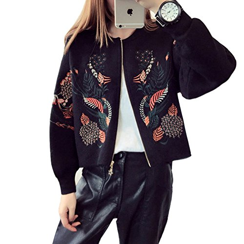 Luxe 7 RM200917 Women's Oriental Embroidery Bomber Style Zip Up Cardigan Sweaters Black by Luxe 7