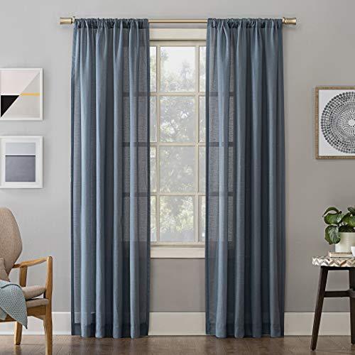 Denim Curtain Panel - No. 918 Amalfi Linen Blend Textured Sheer Rod Pocket Curtain Panel, 54