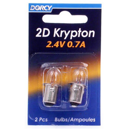 Dorcy 2D-2.4-Volt, 0.7A Bayonet Base Krypton Replacement Bulb, 2-Pack (41-1660)
