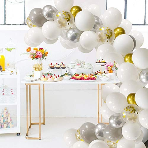 White Balloons Garland Arch Kit White Gold Confetti Balloons 120 PCS White and Silver Balloons for Parties Decorations
