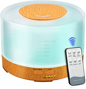 K KBAYBO 500Ml Cool Mist Humidifier Ultrasonic Aroma Essential Oil Diffuser with 4 Timer Settings 7 Color Changing Led for Office Home Bedroom Living Room Study Yoga Spa - Wood Grain