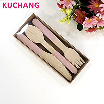 JEWH [24pcs] Disposable Wooden Knives Cutlery Forks Spoons - Tableware Sets - Pink Blue