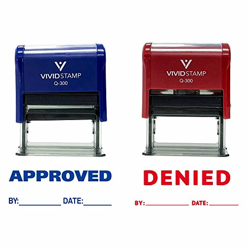 APPROVED / DENIED By Date Self Inking Rubber Stamp - 2 PACK (Blue Ink / Red Ink) Large