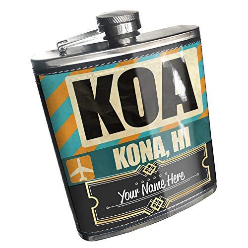 Neonblond Flask Airportcode KOA Kona, HI Custom Name Stainless Steel (Kona Stainless Steel Flask)