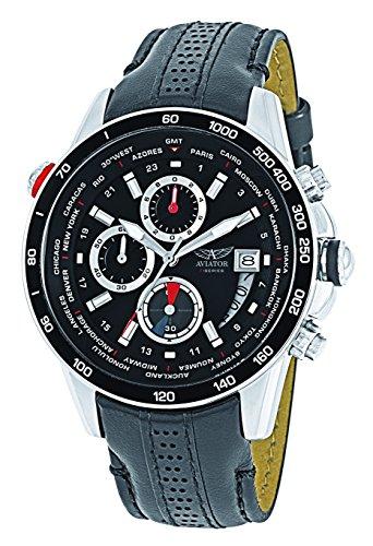 - AVIATOR AVW8974G76 Men's Pilot Aviation Chronograph Quartz Watch Black Leather Strap Analog Wristwatch