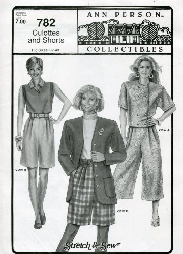Stretch & Sew Pattern 782 ~ Ladies' Culottes and Shorts ~ Hip 32-48