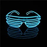 Lerway Neon El Wire LED Light Up Shutter Luminous Funny Glasses Eyeglasses Sunglasses Eyemask + Voice Controller, for Clubbing, Raves,Night time Show & Concert (Black Frame + Blue)