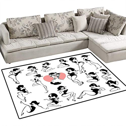 Girls Girls Bedroom Rug Famous Sexy Girl Model Posing with Full Body Features Heart Tattoo on Thigh Make Up Door Mat Indoors Bathroom Mats Non Slip 36