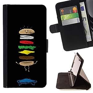 For Samsung Galaxy J3(2016) J320F J320P J320M J320Y Case , Food Funny Cartoon Negro Chef- la tarjeta de Crédito Slots PU Funda de cuero Monedero caso cubierta de piel