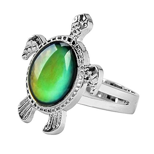 Mermaid Girls Turtle Mood Ring with Color Chart and Organza Gift Bag
