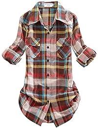 Match Women's Long Sleeve Flannel Plaid Shirt #B003