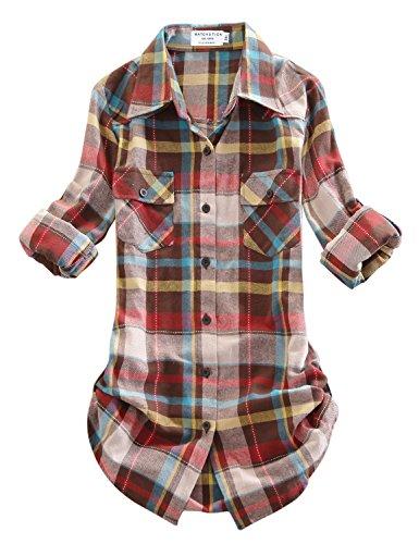 Match Women's Long Sleeve Plaid Flannel Shirt #2021(Large, - Shirt Down Button Flannel