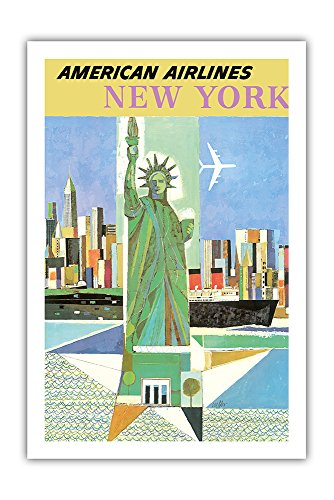 Pacifica Island Art New York, USA - American Airlines - Statue of Liberty - Vintage Airline Travel Poster by Webber c.1960 - Premium 290gsm Giclée Art Print - 24in x 36in