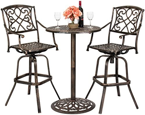 Best Choice Proucts 3-Piece Outdoor Cast Aluminum Bistro Set for Patio, Porch w 2 360-Swivel Chairs – Antique Copper