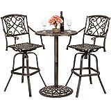 Best Choice Products 3-Piece Outdoor Cast Aluminum Bistro Set for Patio, Porch w/ 2 360-Swivel Chairs - Antique Copper
