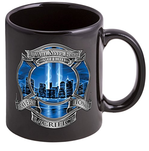 Coffee Cup with 911 Firefighter Blue Skies Logo Stoneware Mug, Firefighter Gift by Erazor Bits